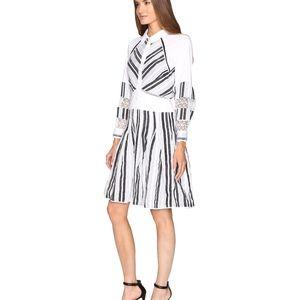 Zac Posen Organdy Stripe Black White Dress $1290!